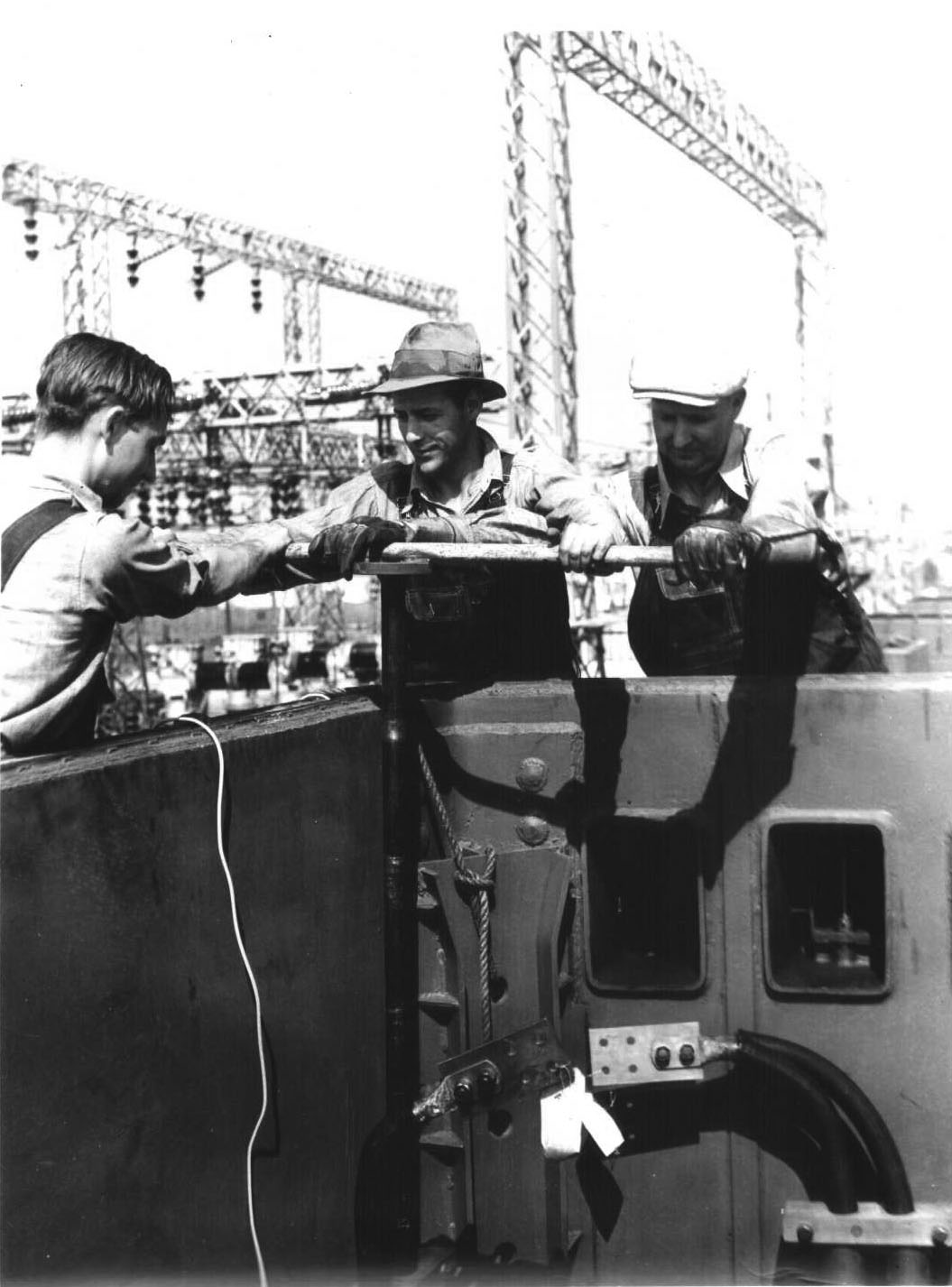 Water And Power Associates Electrical Engineering 4 Year Plan Ucla 1936 Close Up View Showing Three Workers Assembling One Of The Large Transformers