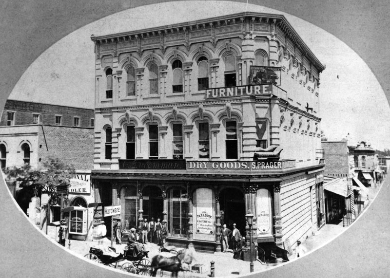 (ca. 1882)*   Hardware Store Of C. Ducommun, Dry Goods Store Of S. Prager  And A Furniture Store At 204 N. Main Street (after 1890 At 304 N. Main  Street) Are ...