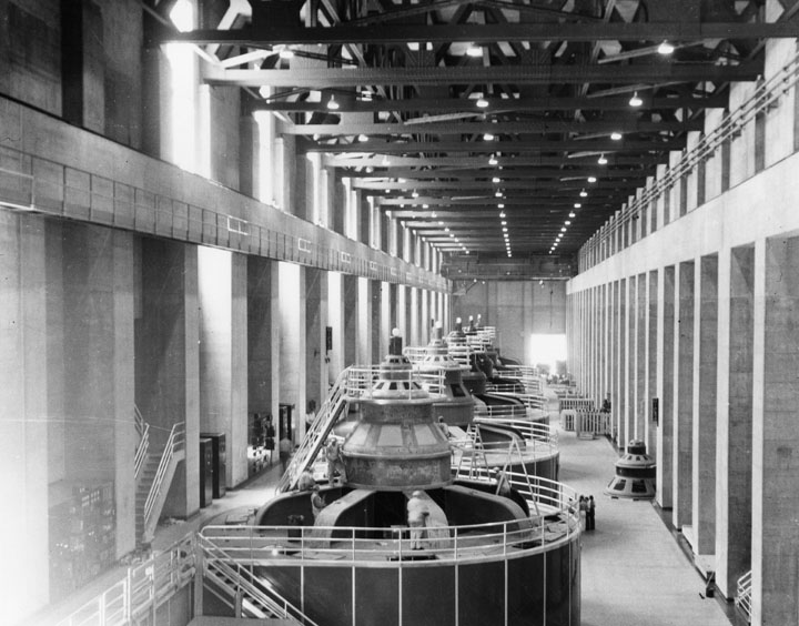 1936)* - view of the upper generator room at hoover dam, on the nevada  side, where there are eight generators  (the arizona side has nine )