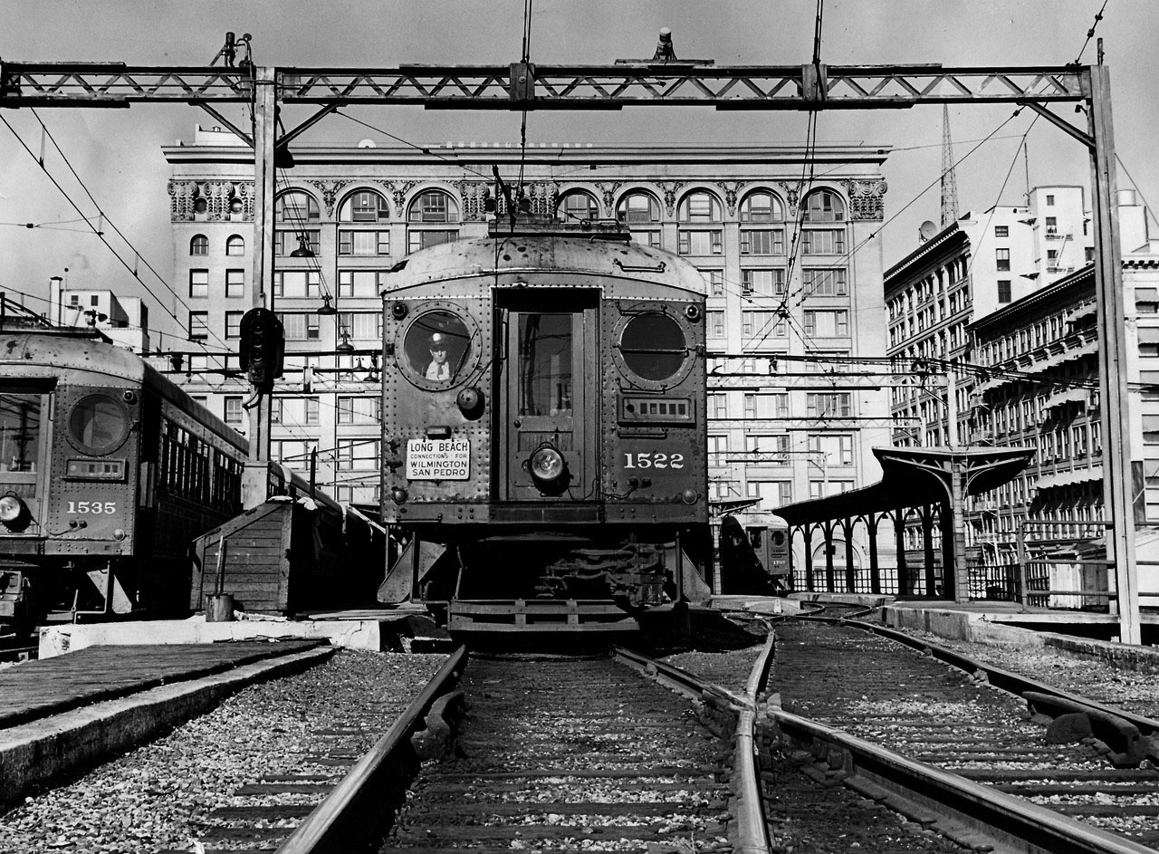 1960 A No 1522 Pacific Electric Red Car Leaves The Building At 6th And Main Streets Heading To Long Beach In Dec