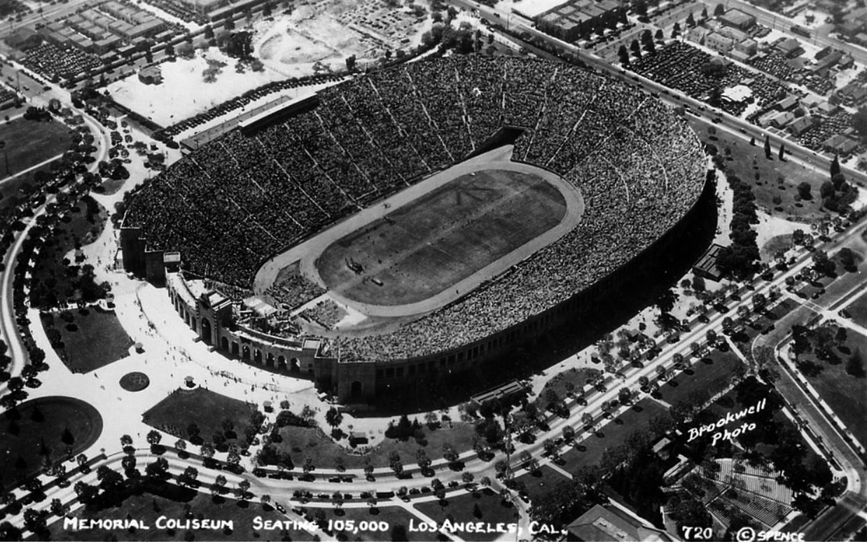 05140d63cfb2 (ca. 1930)     - Postcard view of the Memorial Coliseum after its expansion  in preparation for the 1932 Olympics. Note  The Olympic torch has yet to be  ...