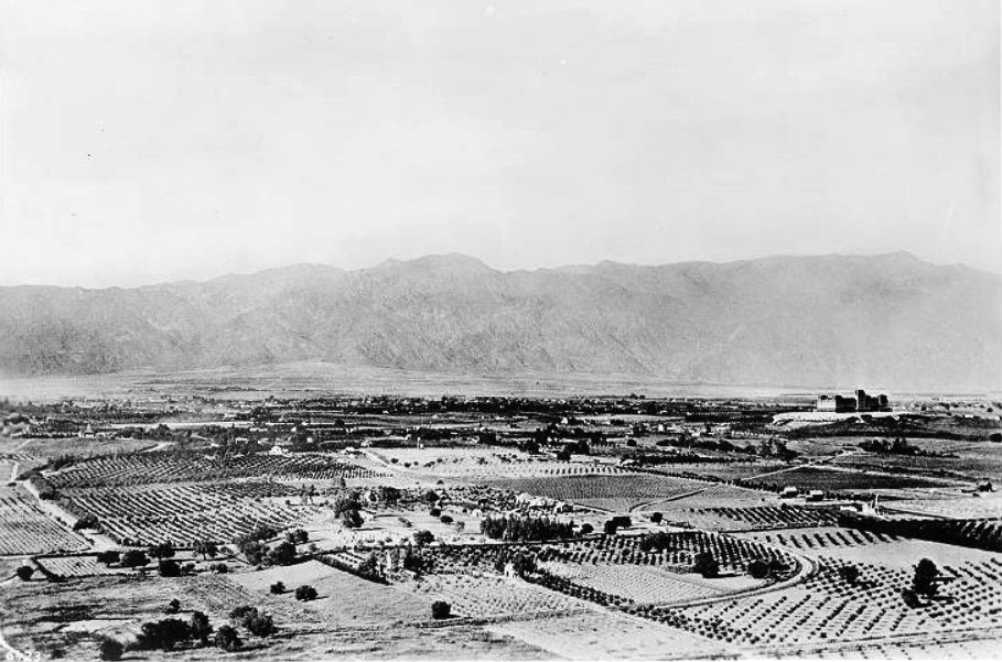 1886 Panoramic View Looking North From South Pasadena Showing Orange Groves And Residences The Raymond Hotel Sits On Top Of Bacon Hill At