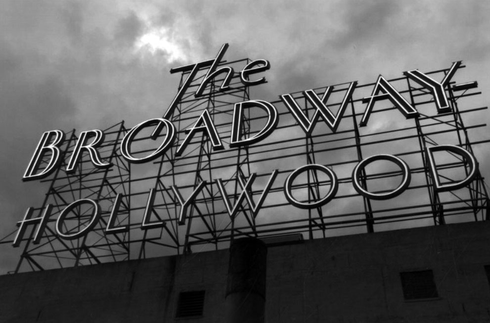 2005 rooftop of the broadway hollywood on vine street in hollywood the neon sign that reads the broadway hollywood is lit and looks crisp against