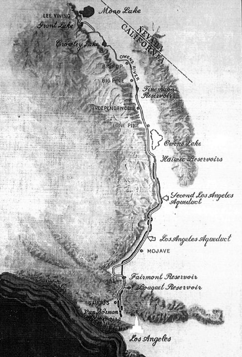 1971 Map Showing Both Original And The Second Los Angeles Aqueducts