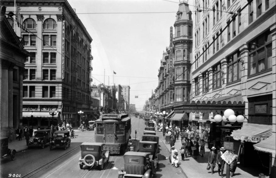 Ca 1924 View Looking North Up Main Street The Westminster Hotel Is Seen On Northeast Corner Of 4th And Streets