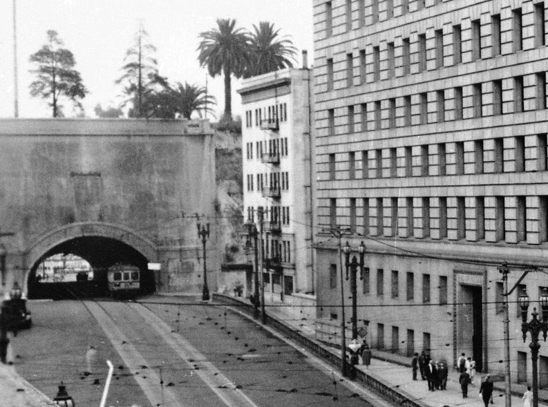 Ca 1925 View Showing The South Portal Of Broadway Tunnel With Hotel Alhambra At New Location Squeezed In Between And Newly