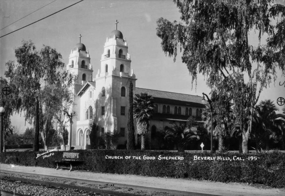 Water and power associates 1930s postcard view looking northwest showing the church of the good shepherd with twin bell towers and frontispiece railroad tracks and a bench spiritdancerdesigns Image collections
