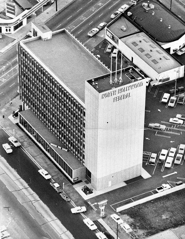 1962 Aerial View Showing The North Hollywood Federal Savings And Loan Located At 4455 Lankershim Blvd Corner Of Riverside Drive Adjoining