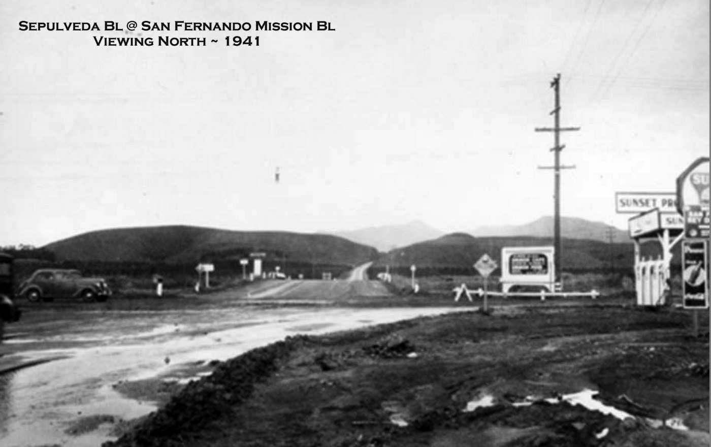 Water And Power Associates 1930 Chevrolet Wiring Diagram 1941 View Looking North On Sepulveda Boulevard At San Fernando Mission Today Hills The N E Corner There Is A Sign For
