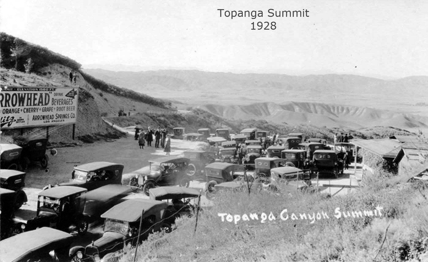 (1928)#^*^ U2013 Topanga Summit Without Hardly A Parking Spot To Be Had. The  Refreshments Stand Is To The Right.