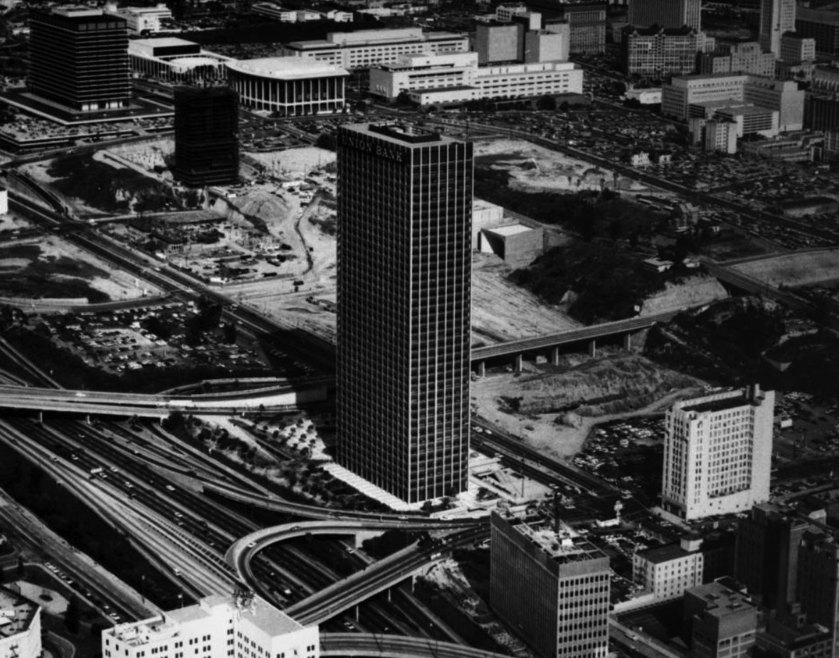 1968 aerial view looking northeast showing the union bank square on bunker hill in downtown los angeles the building under construction in the upper