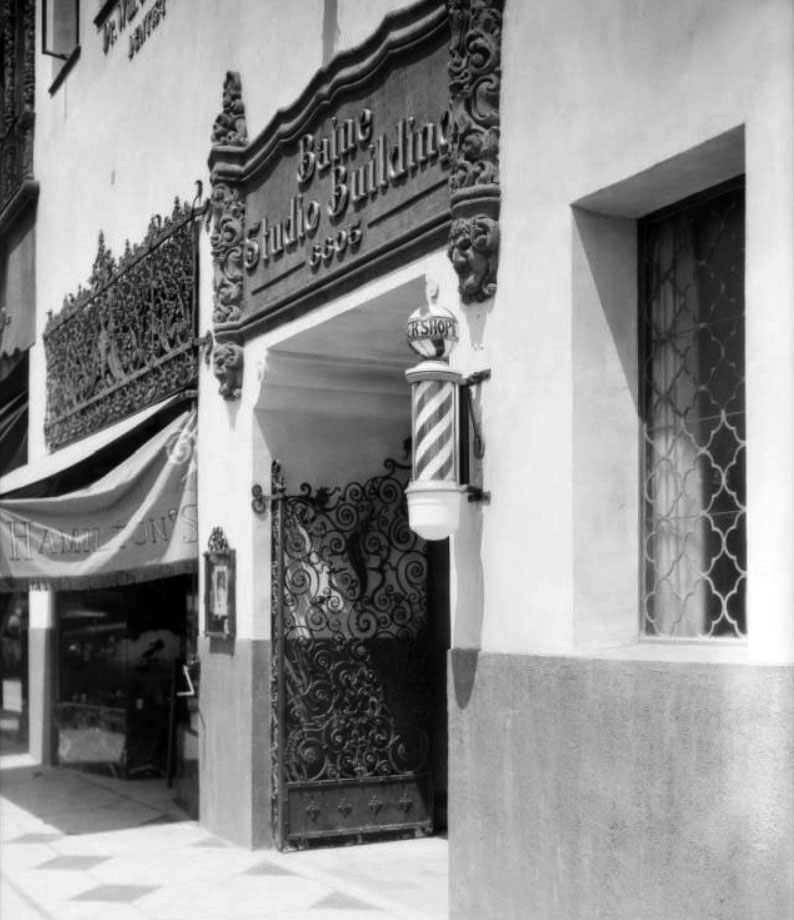 b82a626dd7db (1927)   – View showin the main entrance to the Baine Studio Building at  6605 Hollywood Boulevard. Note the barber pole  to the side of the entrance.