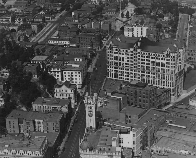 1925 Panoramic View Of The Civic Center In 1920s Looking North From First And Broadway With Old Los Angeles Times Building Foreground