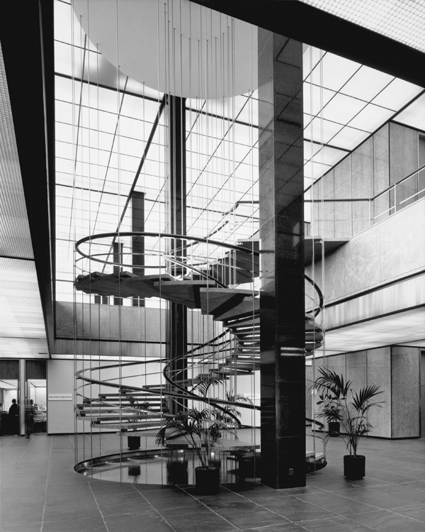 (1965)^*   Interior View Of The GOB Showing The Spiral Staircase Leading Up  To The Main Lobby From One Of The Lower Floors.