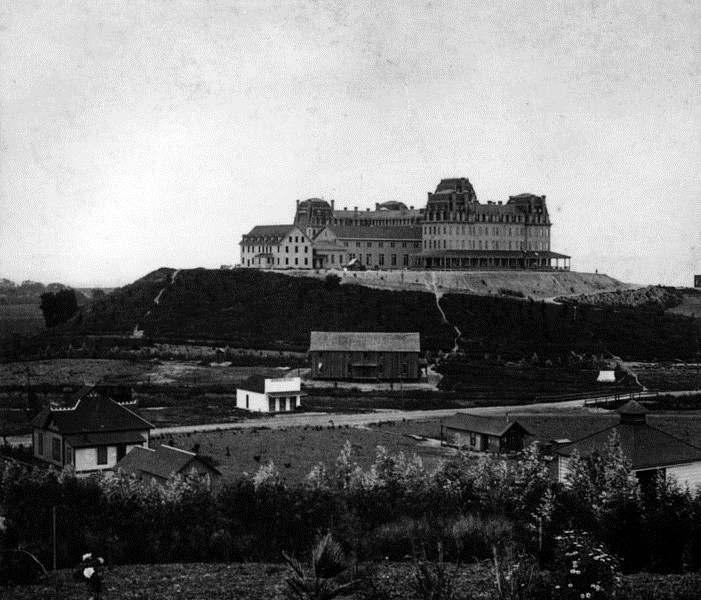 1886 A Panoramic View Facing The Eastern Facade Of Raymond Hotel Surrounding Land Is Still Rural With Tered Houses And Small Buildings