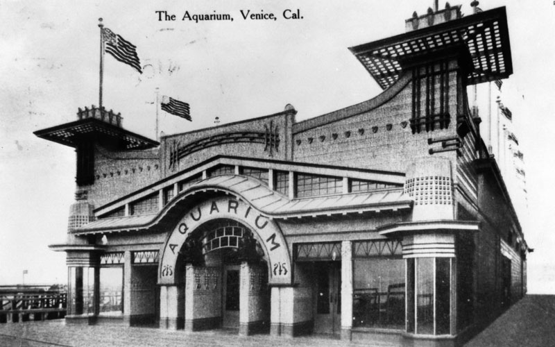 Ca 1908 A View Of The Front Aquarium With Flags Flying All Around Top Building
