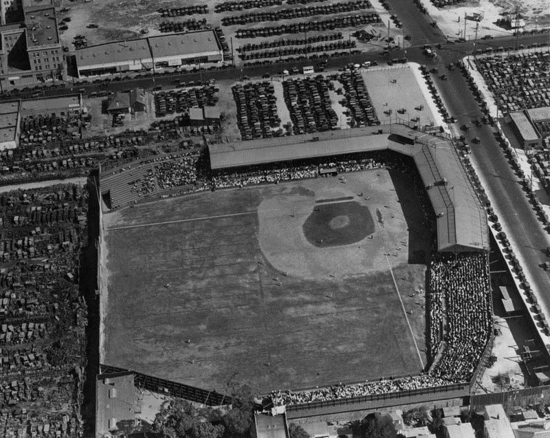 Black and white arieal photo of Washington Park baseball field circa 1924